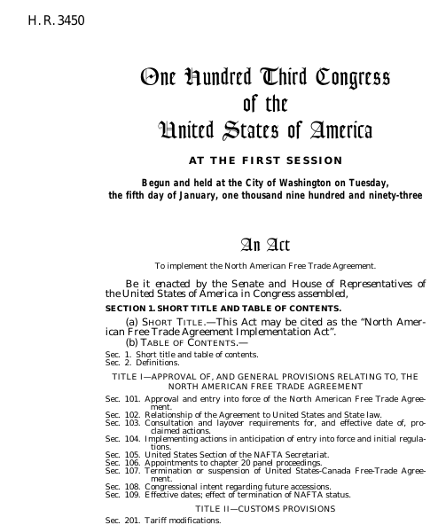 North american free trade agreement implementation act 1993 103rd thumbnail of bill text platinumwayz