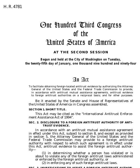International Antitrust Enforcement Assistance Act Of 1994 1994