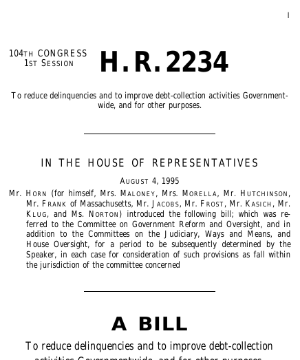 debt collection improvement act Debt Collection Improvement Act of 1995 (1995; 104th Congress H.R. ...