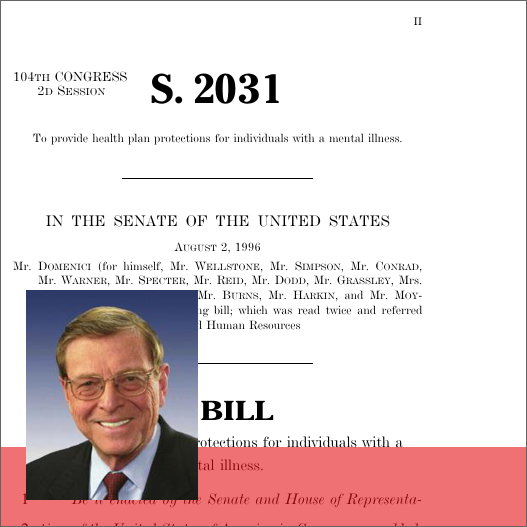 mental health parity act of 1996 Rules released for implementing the paul wellstone and pete domenici mental health parity and addiction equity act of 2008 (code) in 1996, congress enacted the mental health parity act of 1996 (mhpa 1996).