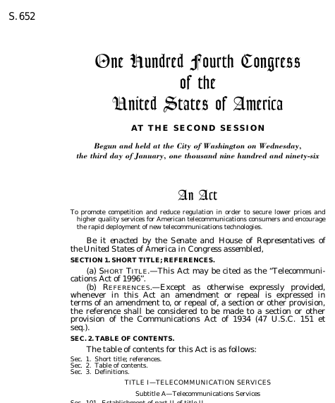 an analysis of signing of the law of communication act of 1934 Communications act of 1934 public law no 416, june 19, 1934, 73d congress an act to provide for the regulation of interstate and foreign communication by wire or radio, and for other purposes.