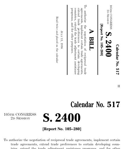 Trade And Tariff Act Of 1998 1998 105th Congress S 2400