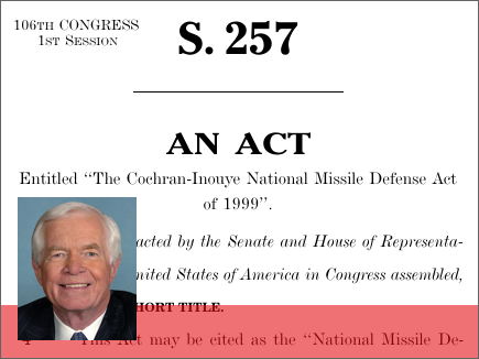 the law of national missile defense act of 1999