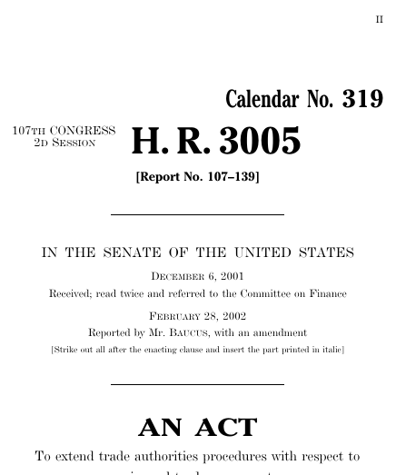 Bipartisan Trade Promotion Authority Act Of 2002 2001 107th