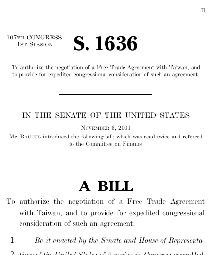 United States Taiwan Free Trade Agreement Act Of 2001 2001 107th