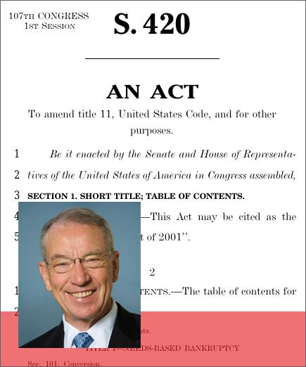 bankruptcy reform act of 2001 sean