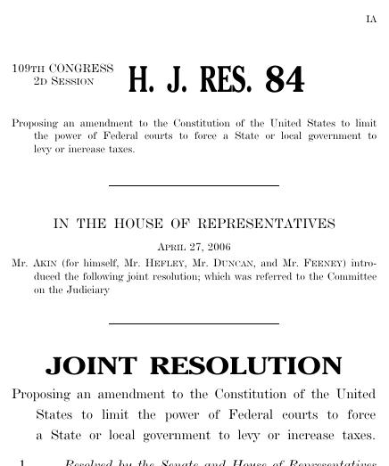 No Taxation Without Representation Amendment 2006 109th Congress