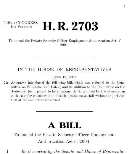 Private Security Officer Employment Authorization Act of 2007 – Format for a Bill