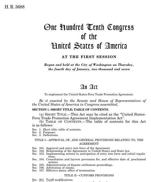 United States Peru Trade Promotion Agreement Implementation Act