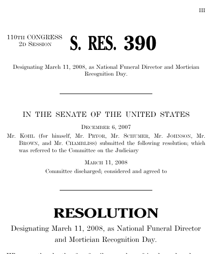 A resolution designating march 11 2008 as national funeral thumbnail of resolution text pronofoot35fo Images