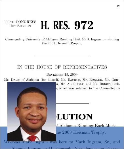Commending University of Alabama Running Back Mark Ingram on