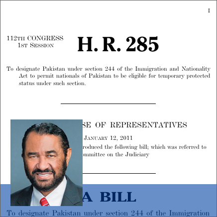 Pakistani Temporary Protected Status Act of 2011 (2011 - H.R. 285)