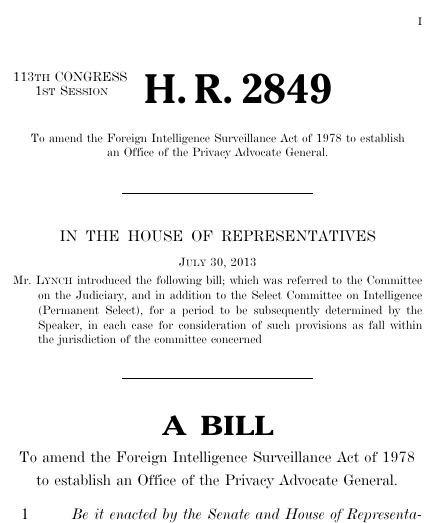 Privacy Advocate General Act of 2013 2013 113th Congress HR – Format for a Bill