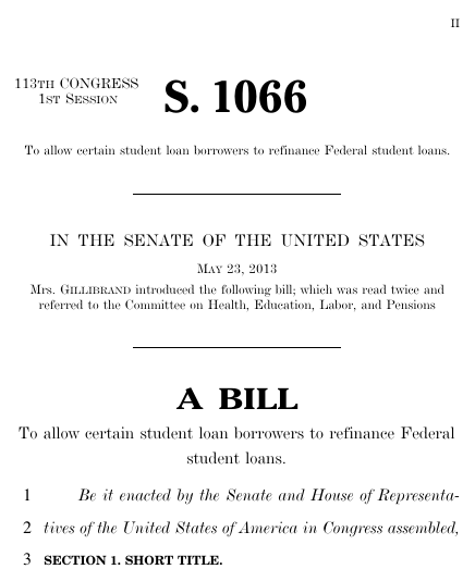 Federal student loan refinancing act 2013 113th congress s 1066 thumbnail of bill text pronofoot35fo Gallery