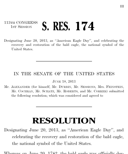 A Resolution Designating June 20 2013 As American Eagle Day And