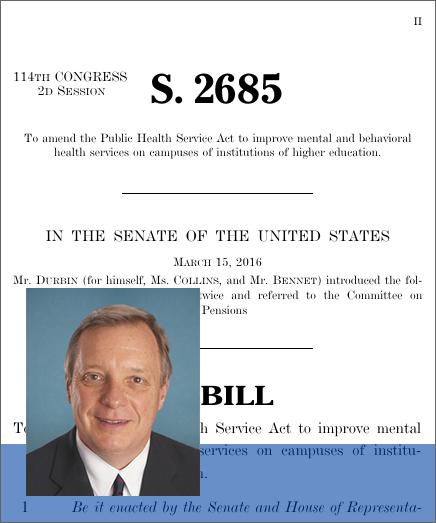 Dick durbin mental health legislative voting record