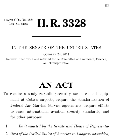 Cuban airport security act of 2017 hr 3328 govtrack thumbnail of bill text publicscrutiny Gallery