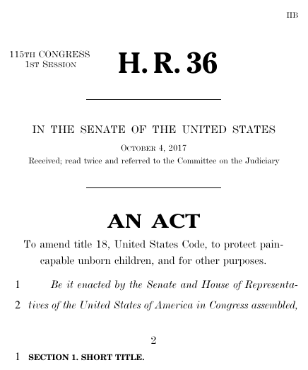 Pain-Capable Unborn Child Protection Act (H.R. 36) - GovTrack.us