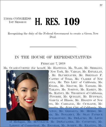 Recognizing the duty of the Federal Government to create a Green New Deal.  (2019; 116th Congress H.Res. 109) - GovTrack.us